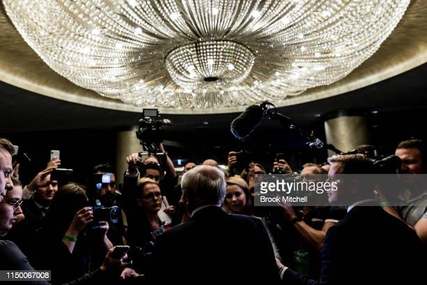 Former PM John Howard arrives at the Liberal Party reception at the Sofitel Wentworth Hotel on May 18 2019 in Sydney Australia Australians head to...