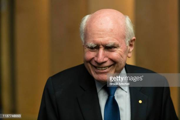Former PM John Howard attends NSW Premiere Gladys Berejiklian's victory celebrations on March 23 2019 in Sydney Australia The 2019 New South Wales...