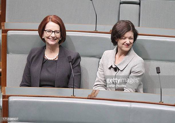 Former PM Julia Gillard sits with friend and MP Kirsten Livermore in the House of Representatives on June 27 2013 in Canberra Australia Kevin Rudd...