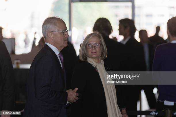 Former PM Malcolm Turnbull and wife Lucy arrive at Sydney Opera House on June 14 2019 in Sydney Australia Robert James Lee Hawke AC also known as Bob...