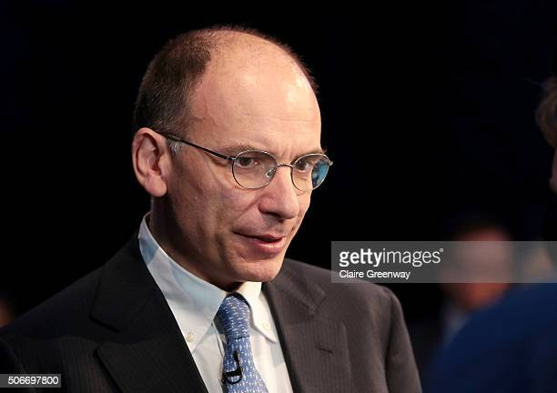 Former PM of Italy, Enrico Letta, attends the 'EU Wargames' event at The Porter Tun on January 25, 2016 in London, England. 'EU Wargames' are...