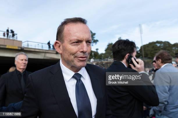 Former PM Tony Abbott departs the memorial for Bob Hawke at the Sydney Opera House on June 14, 2019 in Sydney, Australia. Robert James Lee Hawke AC,...