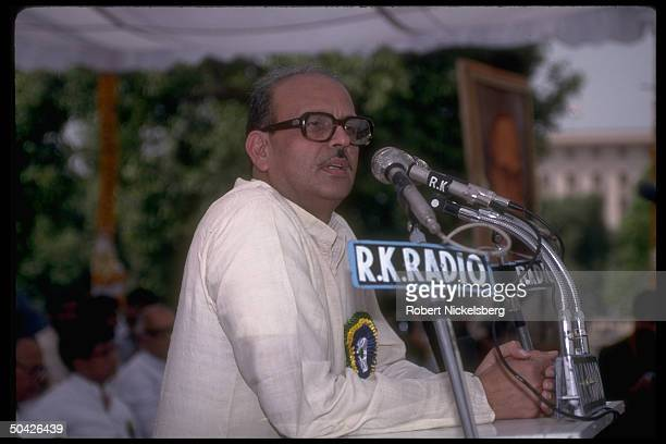 Former PM V.P. Singh addressing rally of his Janata Dal Party during May Parliamentary elections campaign.