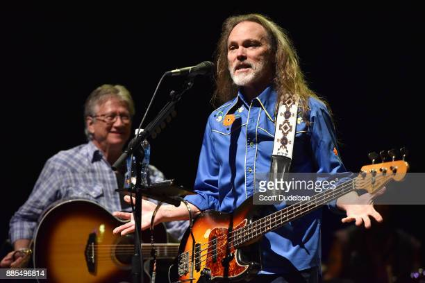 Former Poco members Timothy B Schmit and Richie Furay reunite and perform onstage during Timothy B Schmit's 'Leap of Faith' solo tour at Saban...