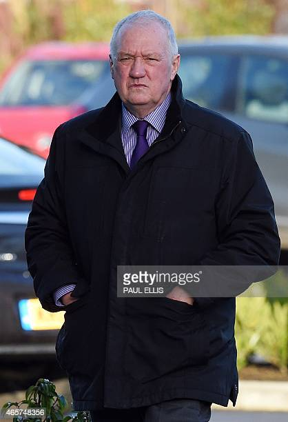 Former police chief superintendent David Duckenfield arrives at the coroner's court in Warrington northwest England on March 10 as he prepares to...