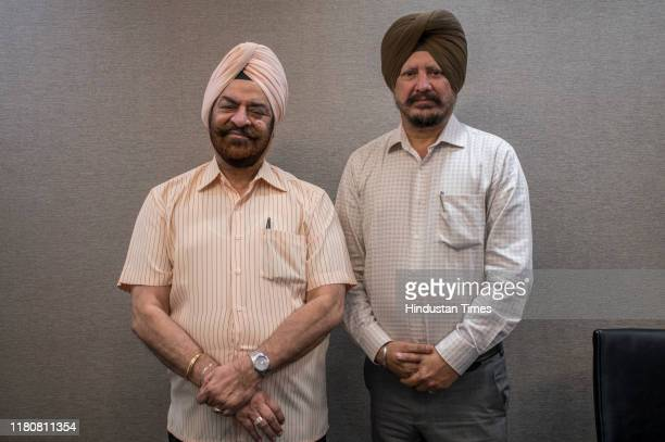 Former police commissioner PS Pasricha and a resident of the city Jasbir Singh Dham who are the two pilgrims going to Kartarpur poses for a picture...