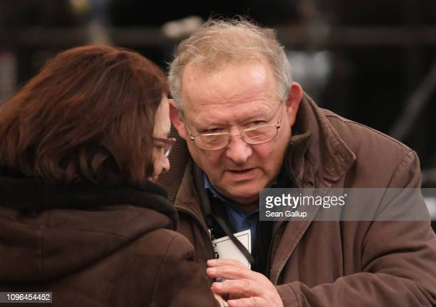 Former Polish dissident Adam Michnik attends the funeral of murdered Gdansk mayor Pawel Adamowicz in the Basilica of Saint Mary on January 19 2019 in...