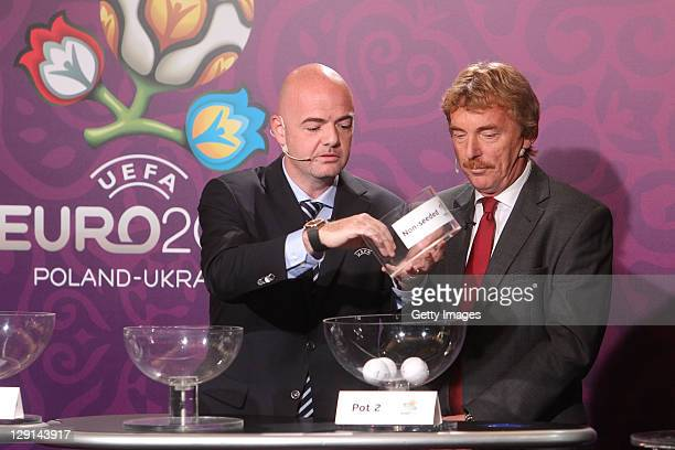 Former Polish international football player Zbigniew Boniek and UEFA general secretary Gianni Infantino during the draw for the qualifying playoff...