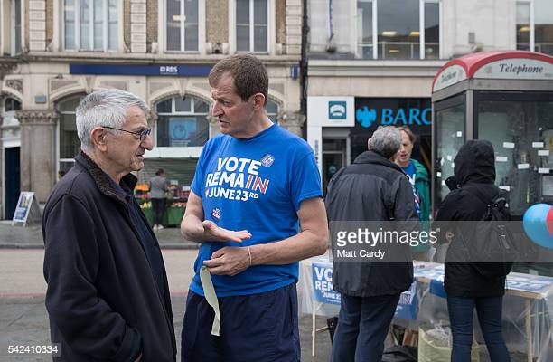 Former political aide and author Alastair Campbell campaigns for people to vote to remain in the EU outside Camden Town underground station on June...