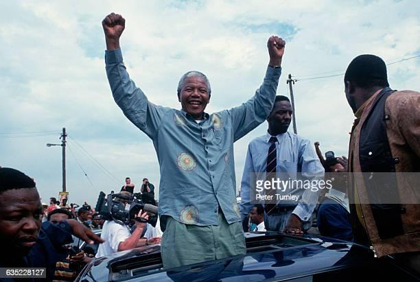 Former political prisoner Nelson Mandela campaigns for the presidency of South Africa