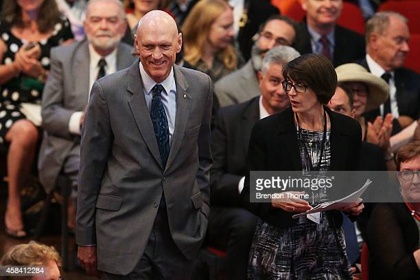 Former politician Peter Garrett arrives at the state memorial service for former Australian Prime Minister Gough Whitlam at Sydney Town Hall on...