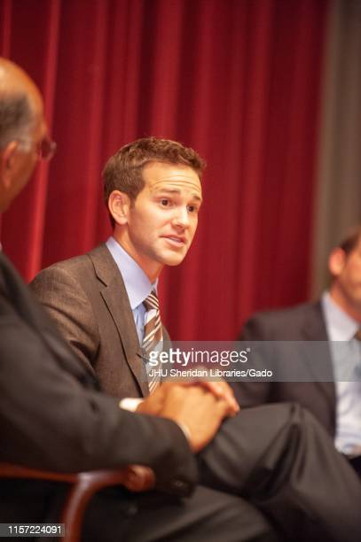 Former politicians Michael Steele and Aaron Schock participating in a Foreign Affairs Symposium at the Johns Hopkins University Baltimore Maryland...