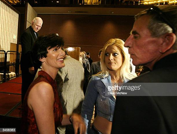 Former porn actress and cofounder of AIM HealthCare Foundation Dr Sharon Mitchell is greeted by members of the adult entertainment industry as she...