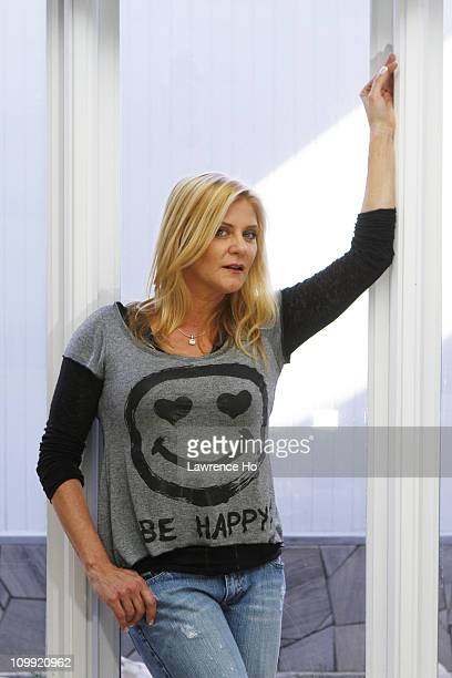 Former porn star and ex girlfriend of Charile Sheen Ginger Lynn poses at a portrait session for the Los Angeles Times in Woodland Hills California on...
