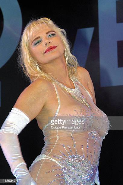 Former porn star and former member of the Italian parliament Chicholina performs at the Love City Sexy Festival July 242002 in Tel Aviv Israel...