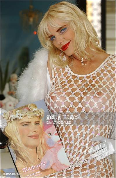 Former pornstar and former Italian parliament member Ilona Staller aka La Cicciolina publishes her Memoirs in Rome Italy on July 19th 2002