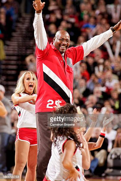 Former Portland Trail Blazers player Jerome Kersey performs with the Blazer Dancers during a game between the Oklahoma City Thunder and Blazers on...
