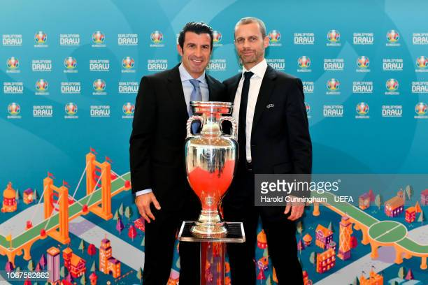 Former Portugal international Luis Figo and UEFA President Aleksander Ceferin following the UEFA Euro 2020 Draw on December 2 2018 in Dublin Ireland