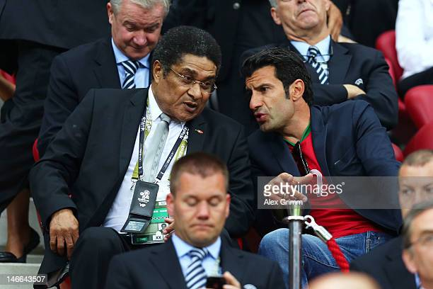 Former Portugal Internationals Eusebio and Luis Figo speak ahead of the UEFA EURO 2012 quarter final match between Czech Republic and Portugal at The...