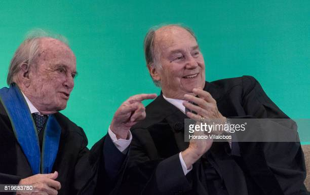 Former Portugal's Prime Minister Dr Francisco Pinto Balsemao and His Highness Shah Karim alHussaini Prince Aga Khan during the ceremony in which...