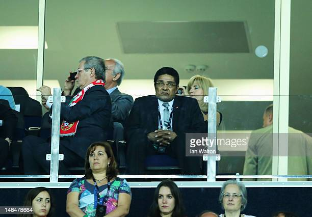 Former Portuguese footballer Eusebio watches the UEFA EURO 2012 group B match between Portugal and Netherlands at Metalist Stadium on June 17 2012 in...