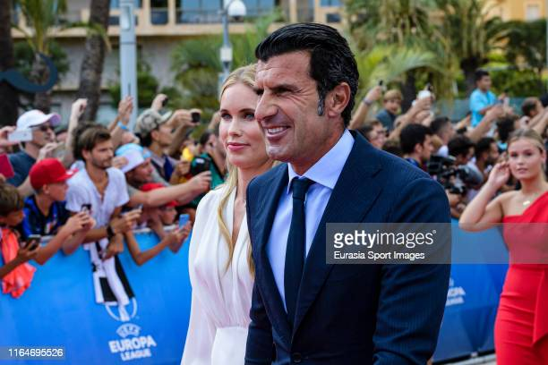 Former Portuguese footballer Luis Figo and his wife Helen Svedin walking the red carpet during the KickOff 2019/2020 UEFA Champions League Draw on...