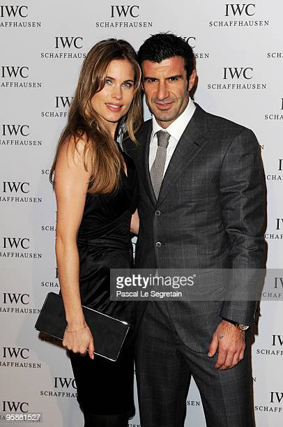 Former Portuguese footballer Luis Figo and wife Helen Svedin attend the IWC Schaffhausen Private Dinner Reception during the Salon International de...