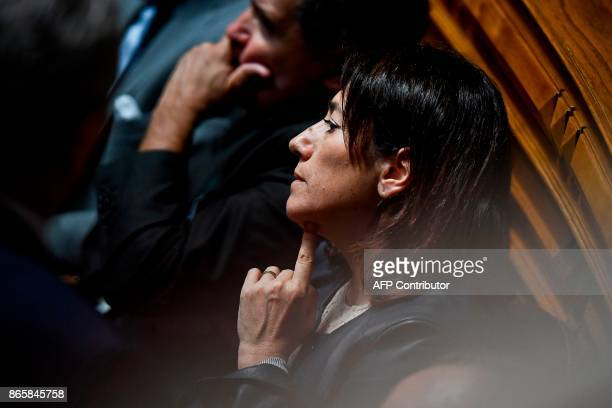 Former Portuguese Interior Minister Constanca Urbano de Sousa attends the debate of a censure motion tabled by the conservative CDSPP party at the...