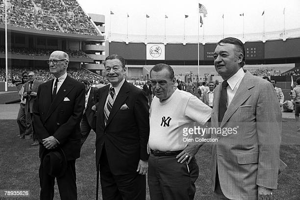 Former Postmaster General James A Farley restauranteur Toots Shor clubhouse manager Pete Sheehy and announcer Mel Allen of the New York Yankees line...