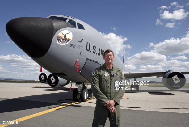Former POW Lt Col Richard Dale Storr poses for a photograph along side a KC135R refueling tanker of the Washington Air National Guard's 141st Air...