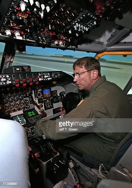 Former POW Lt Col Richard Dale Storr sits inside a Boeing KC135R training simulator at Fairchild Air Force Base June 20 near Spokane Washington Storr...
