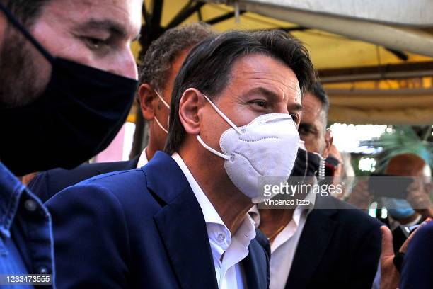 Former premier Giuseppe Conte with an anti-contagion mask, visiting the city of Naples, for a press conference with the candidate for mayor of Naples...