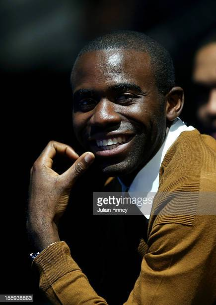 Former Premier League footballer Fabrice Muamba attends the men's singles match between Andy Murray of Great Britain and JoWilfried Tsonga of France...