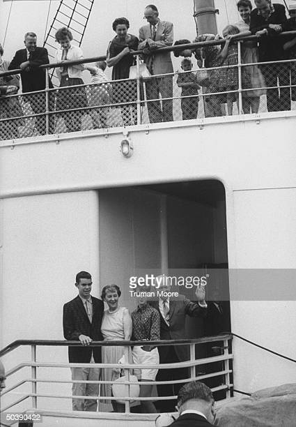 Former Pres. Dwight D. Eisenhower preparing to sail to Europe with his wife, grandson Dwight D. Eisenhower II and granddaughter Barbara Ann...