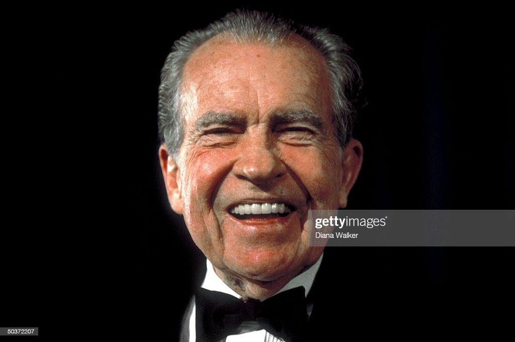 Former Pres. Richard Nixon sporting black tie, attending White House dinner.
