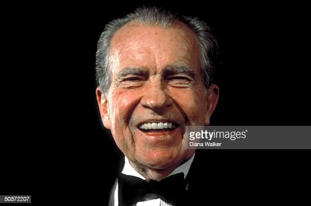 Former Pres Richard Nixon sporting black tie attending White House dinner
