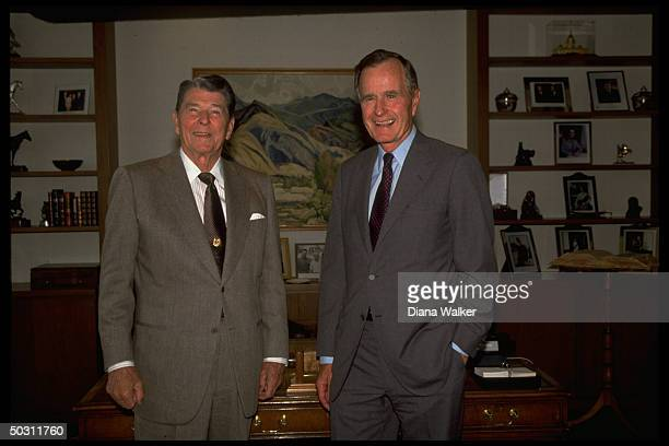 Former Pres Ronald Reagan in his office w Pres George bush latter dropping by while on campaign trip