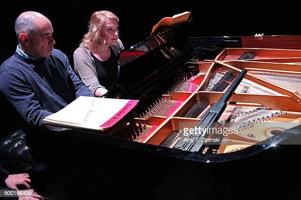 Former presenter on BBC Radio 3 Iain Burnside and BBC Radio 3 presenter Sarah Walker perform four hands during rehearsal before 'Word And Play...