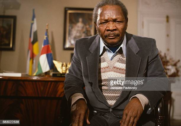 Former President and selfproclaimed Emperor of Central African Republic JeanBedel Bokassa organizes a tour and a press conference in his residence at...