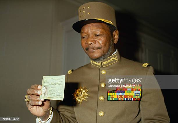 Former President and selfproclaimed Emperor of Central African Republic JeanBedel Bokassa wears his uniform of Marechal as he organizes a tour and...