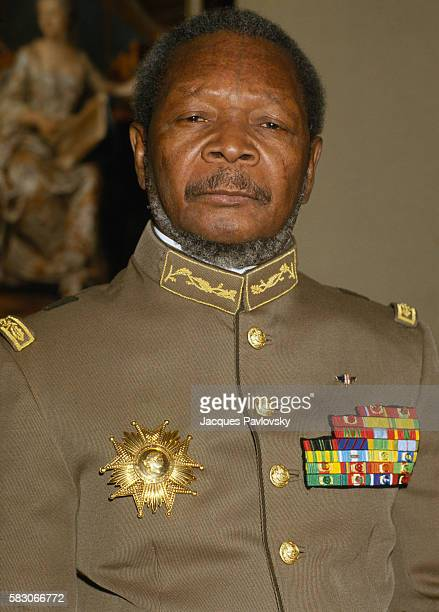 Former President and selfproclaimed Emperor of Central African Republic JeanBedel Bokassa wears his uniform of Marechal as he organizes a tour and a...