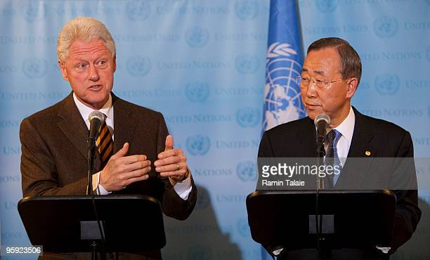 Former President and United Nations Special Envoy for Haiti, Bill Clinton and U.N. Secretary-General Ban Ki-moon speak with reporters during a news...