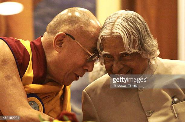 Former President APJ Abdul Kalam and Tibetan spiritual leader Dalai Lama during the world meet for 'Peace and Harmony' to celebrate 150th birth...