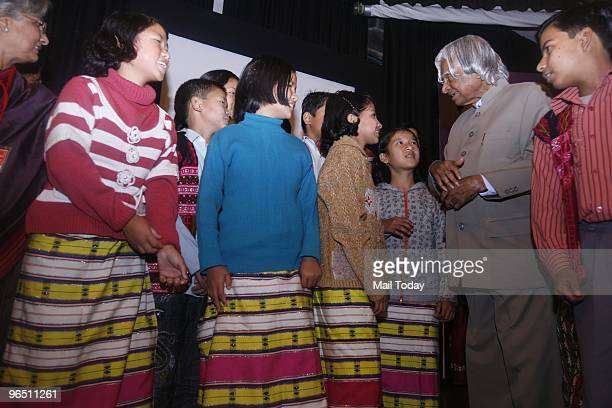 Former President APJ Kalam interacts with kids at the International Conference on Children's Libraries in New Delhi on Febraury 4 2010