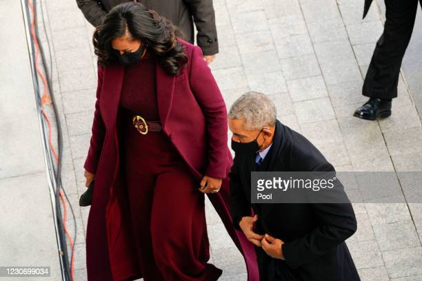 Former President Barack Obama, and former first lady Michelle Obama arrive at the U.S. Capitol ahead of the inauguration of President Joe Biden on...