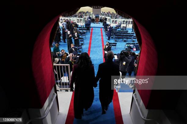 Former President Barack Obama and Michelle Obama arrive for the 59th inaugural ceremony on the West Front of the U.S. Capitol on January 20, 2021 in...