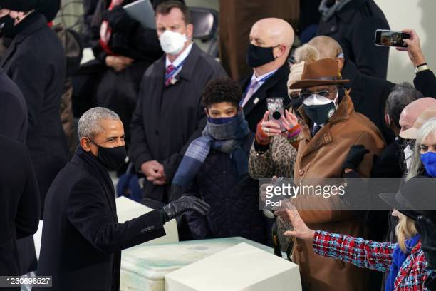 Former President Barack Obama arrives at the inauguration of U.S. President-elect Joe Biden on the West Front of the U.S. Capitol on January 20, 2021...