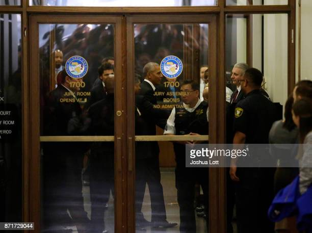 Former President Barack Obama arrives for Cook County jury duty at the Daley Center on November 8 2017 in Chicago Illinois Jurors receive $1720 for...