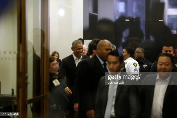 Former President Barack Obama attends Cook County jury duty at the Daley Center on November 8 2017 in Chicago Illinois Jurors receive $1720 for each...