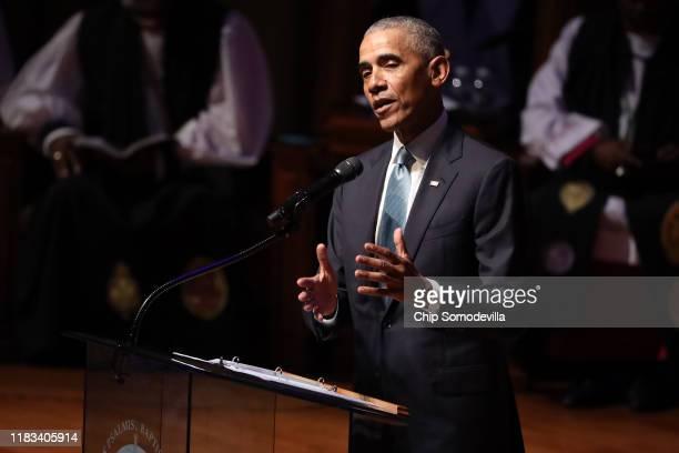 Former President Barack Obama delivers remarks during the funeral service for Rep Elijah Cummings at New Psalmist Baptist Church on October 25 2019...